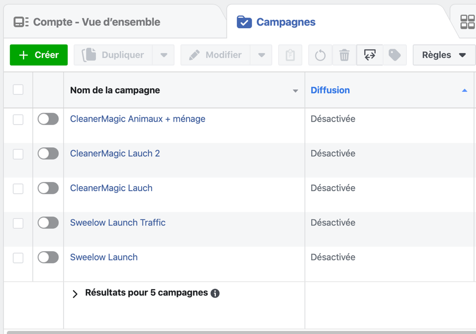 exemple de campagne Facebook Ads